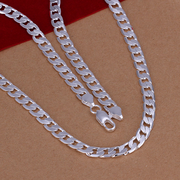 New Fashion Jewelry 20 inch Top quality 925 solid sterling silver Men men's Male chain Link necklace Boy Pendant gift box KX47(China (Mainland))