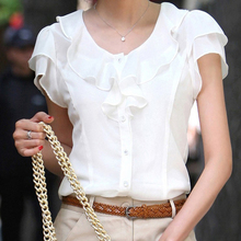 2016 New Brand Spring Summer Women Clothing Girl Casual Bow tie Ruffle Short Sleeve Chiffon Blouse Shirt Office Lady Formal Tops