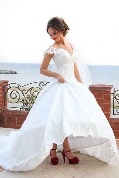 2015 Hot Sale Cap Sleeve High Low Wedding Dress front short Long back Bridal Gowns vestido casamento Bride Dress(China (Mainland))