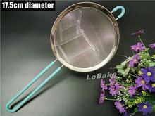 New arrivals 17.5cm diameter stainless steel mesh strainer sifter colander silicone coating handle hanger for kitchen gadgets(China (Mainland))