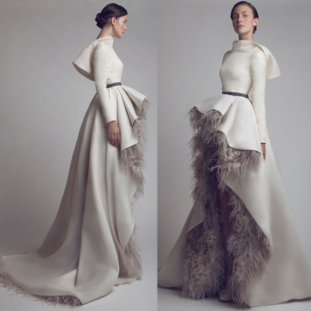 wedding dress with feathers See Mira Zwillinger s Bold Barely There Wedding Dresses for Spring