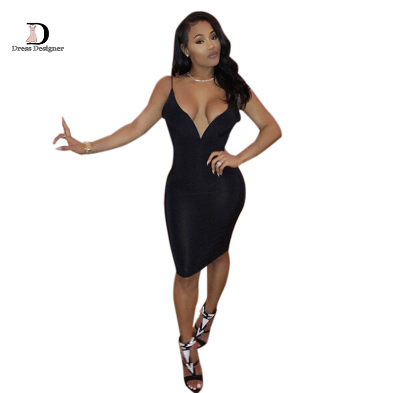 2015 New Fashion Sexy Bodycon Deep V neck Sleeveless Backless Bandage Women Dress Knee Length Black Party Night Dresses Одежда и ак�е��уары<br><br><br>Aliexpress