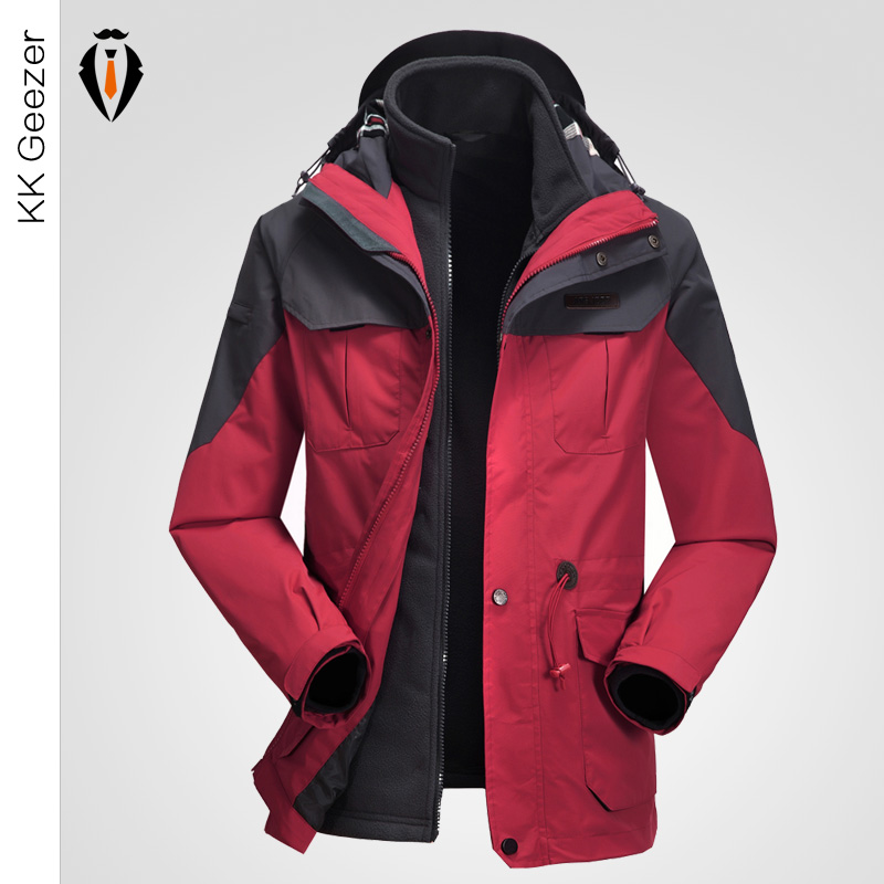 Men Amping Snow Thicken Jacket Sets Hooded Loose Warm Coat Jacket Windproof Waterproof Antistatic Detachable Fashion Thickening(China (Mainland))