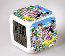 Dragon Ball Z Alarm Night Light Clock Lovely Popular Square LED Colorful Digital Electronic Clock Japan Anime Toys Small Gift #F(China (Mainland))