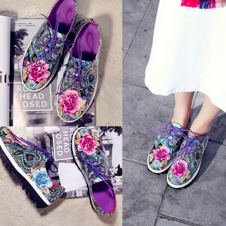 China Traditional Shoe Womens Vintage Floral Print Genuine Leather Flat Platform Creepers Oxford Shoes Tb0460<br>