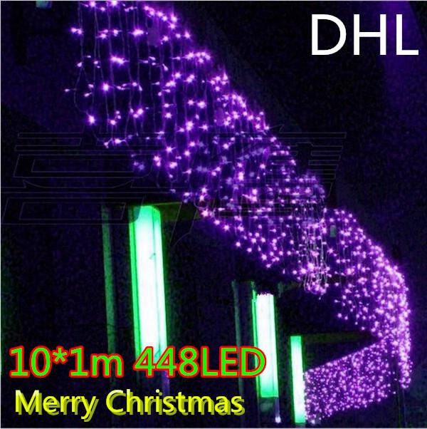 Free DHL10*1M 448LED light flashing lane LED String lamps curtain icicle Fairy Christmas festival lights 110v EU UK US AU plug(China (Mainland))