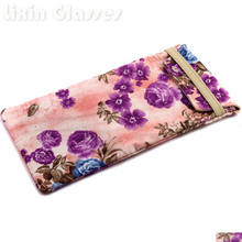 New Hot Selling Soft Cloth Bag Sunglasses Glasses Pouch Purple Pink Flower Eyewear Accessories mobile phone Bag 90*180mm BDH06D