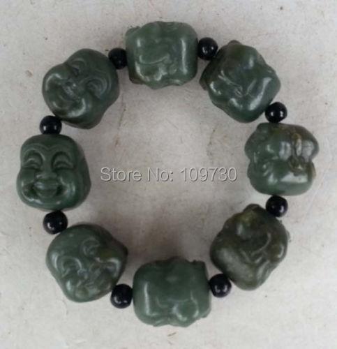 Здесь можно купить  001517 Chinese Cyan Jade Carved Happy Buddha Head Bracelet Bangle  Ювелирные изделия и часы