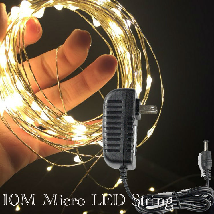 Factory Direct Deal ! 20units/Lot 10M 100LEDs Micro LED Fairy Light String Copper Wire String Light With AC Adapter(China (Mainland))