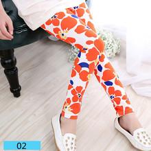 New Spring Summer Girls Leggings Casual Fashion Vintage Flower Kids Legging Elastic Waist Children's Pants bobo choses 8-14 Year(China (Mainland))