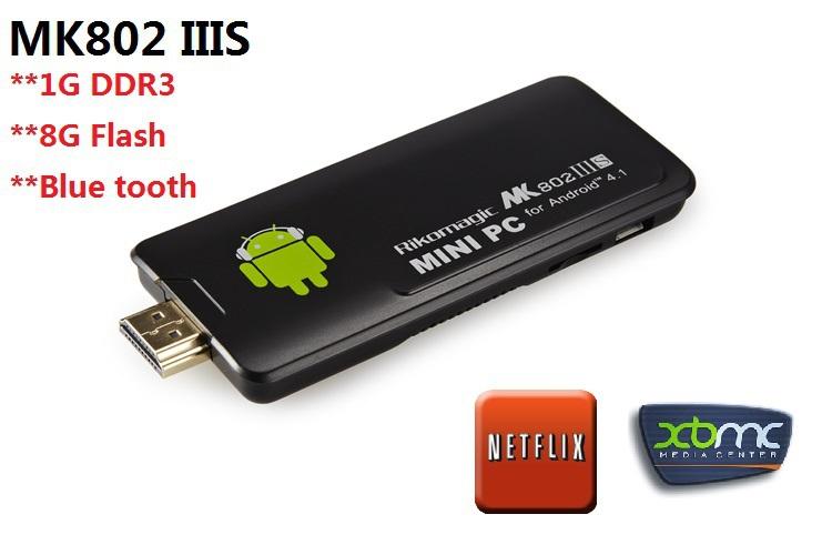 retail Rikomagic MK802 IIIS Mini PC Blue Tooth Mobile Remote Control RK3066 Cortex A9 1GB RAM 8G ROM HDMI TF Card free shipping(China (Mainland))