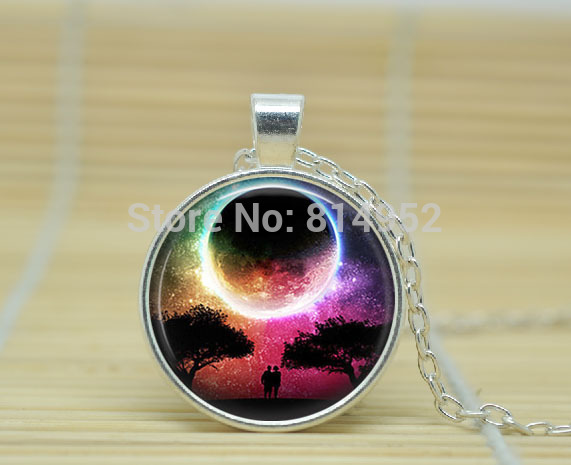 10pcs Full Moon Pendant jewelry Full Moon necklace Science Fiction necklace glass Cabochon Necklace A1885(China (Mainland))