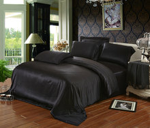 Black color 19 mm mulberry silk bedding set 100% mulberry silk 4 pieces set Italy Queen size sheets 160 x 200 cm customize(China (Mainland))