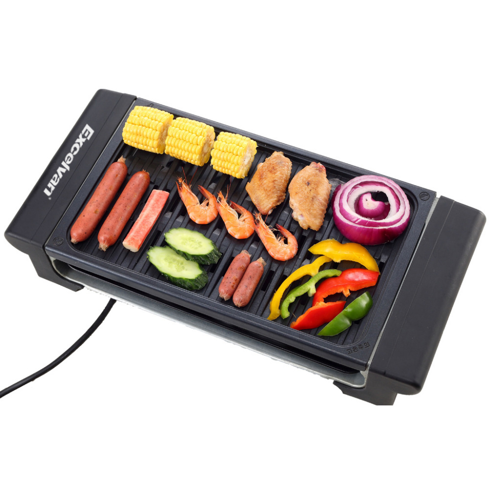 Electric Grill Stainless Steel Indoor Barbecue Family BBQ Grill Oven Non-stick Surface Ribbed Grill Style 1400W UK US EU Plug(China (Mainland))
