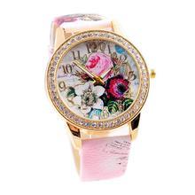 Yoner Flower Mission Fashion Women Watch Colored Diamond PU Leather Quartz Watches Relogio Femininos summer Female Wristwatches