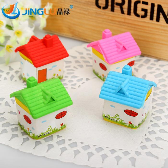 1 Pc / Pack  Rubber Erasers Kawaii House Design Kid Gift School Supplies Stationery