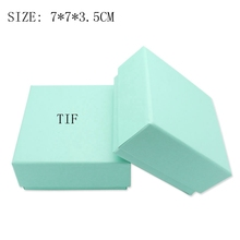 Wholesale 7 Pieces/lot Brand Logo Green Small Paper Gift Boxes / Jewelry Packaging Boxes 7*7*3.5 cm(China (Mainland))
