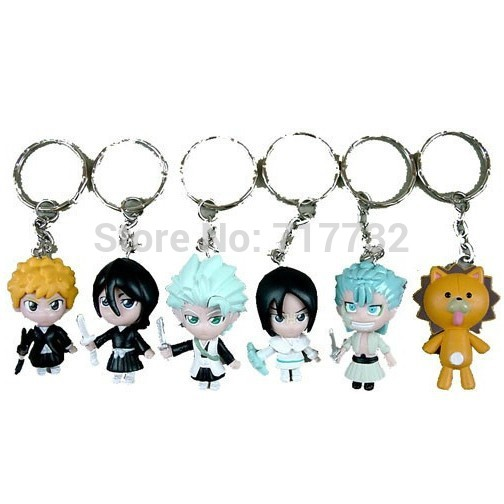 Free shipping 6pcs/set Bleach Action Figures Keychains lovely bear Doll 3D PVC Action Figures toys for kids gift(China (Mainland))