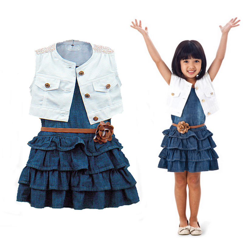 New arrival retail baby girl`s two-piece sets Children's clothing female child white vest denim skirt summer sleeveless suit(China (Mainland))