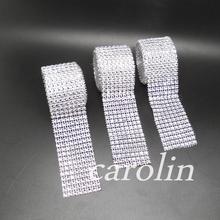 1pcs 4cm*2meter Bling Diamond mesh Wrap ribbon silver Rhinestone Mesh Roll Tape Tulle Crystal Ribbon cake wedding decoration(China (Mainland))