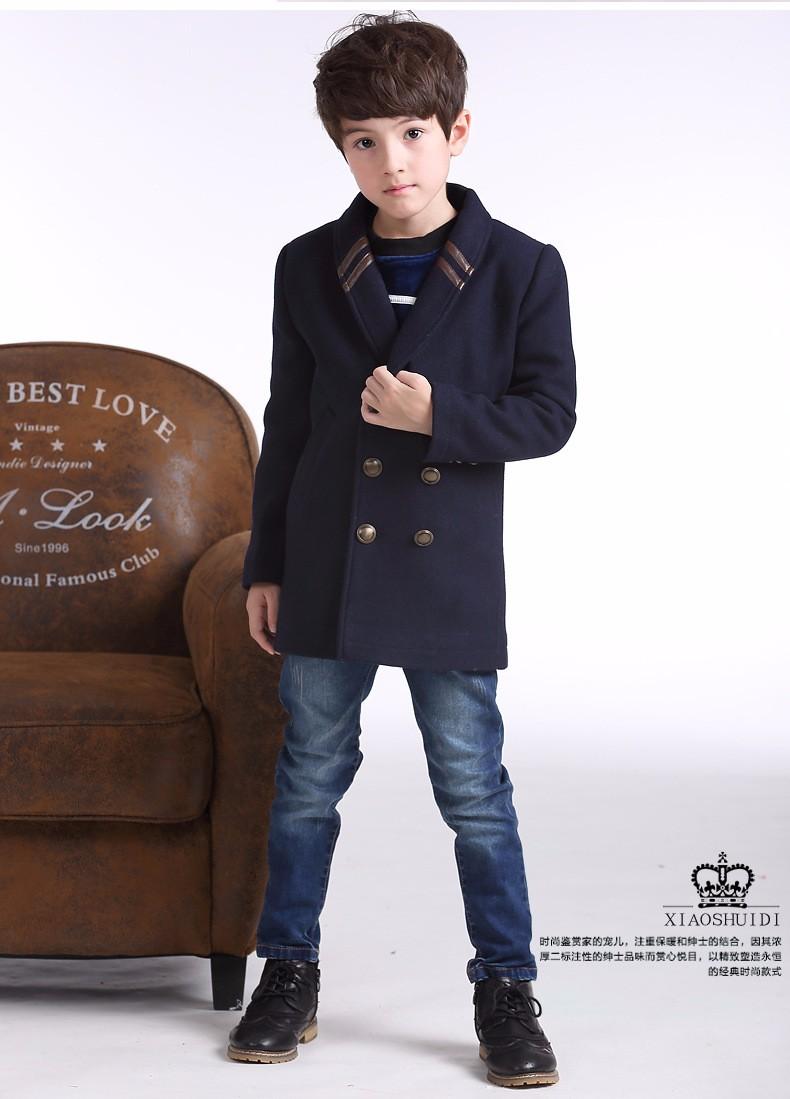 Скидки на Новый зимний стиль дети теплые шерстяные пальто дети кашемир траншеи ребенок дети долго стиль casual пиджаки пальто для мальчиков
