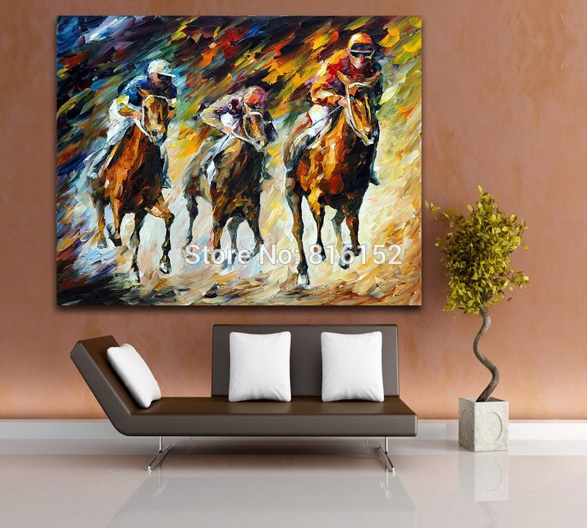 Buy Modern Canvas Oil Painting Handpainted Horse Racing Painting Palette Knife Canvas Wall Picture for Living Room Home Decoration cheap