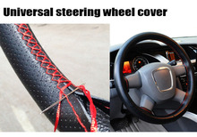 Universal Car Steering-Wheel Cover hand-stitched 38cm leather steering wheel cover  funda volante housse volant voiture(China (Mainland))