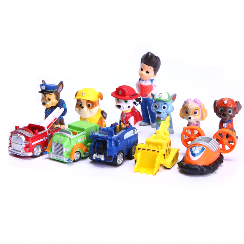 12pcs Dogs Patrol Action Figures patrulla canina toys Dogs Patrol Mini Cars Plastic Toys Dogs Patrol Toys Model Children Gifts