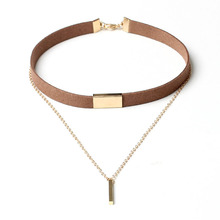Buy 2017 New Velvet Short Necklace Gold Chain Strip Short Section Necklace Women Leather Double Chain Chain Pendant Collar for $1.10 in AliExpress store