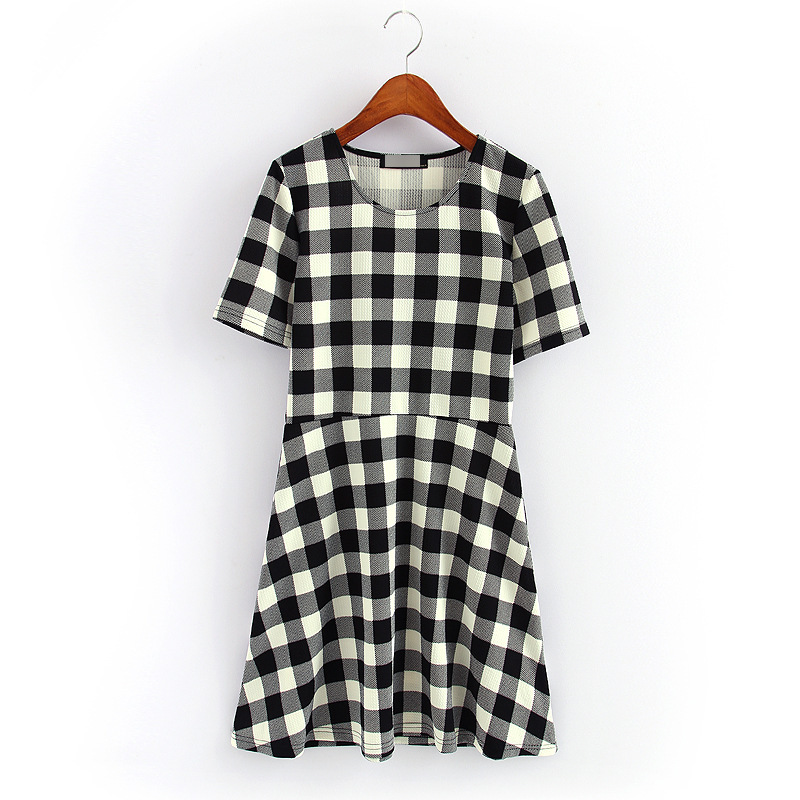 2015 women's o-neck black and white vestidos plaid dress elegant Beauty Ladies casual dresses dresses 5518(China (Mainland))