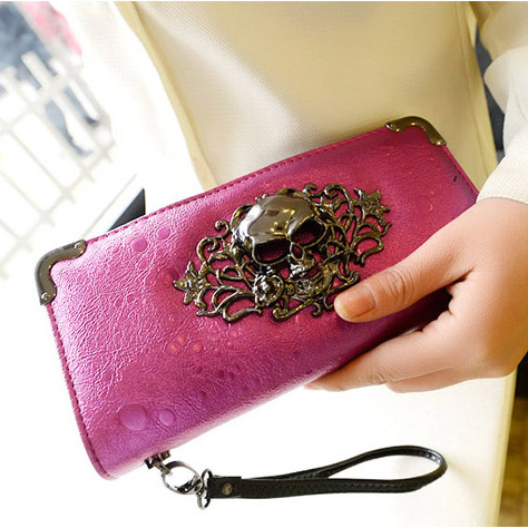 New 2014 korean fashion women's long leather vintage punk wallet skull day clutch women messenger bags carteiras free shipping(China (Mainland))