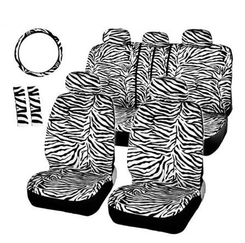 Short Plush Luxury Zebra Seat Covers Universal Fit Most Car Seats Steering Wheel Cover Shoulder Pad White Seat Cover(China (Mainland))