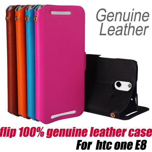 10pcs/lot.flip 100% Genuine Leather wallet Case Cover stand for htc one E8 M8 ACE,free shipping