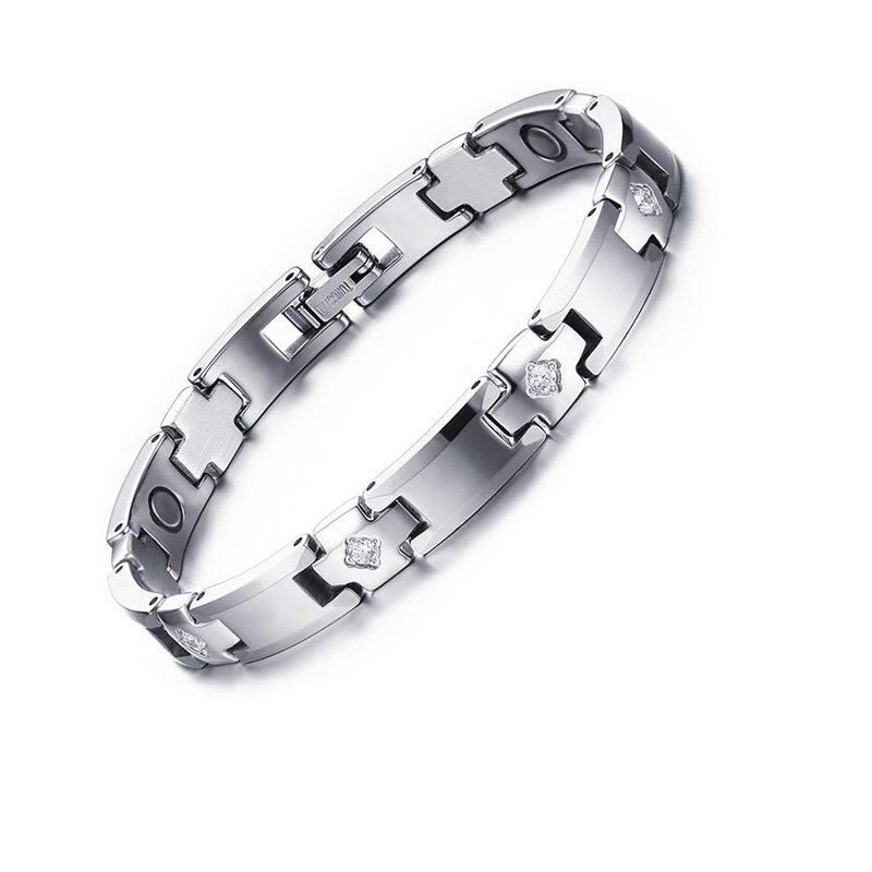 2016New fashion Mens Magnetic Therapy Bracelet Free Gift Box Germanium Ion Wrist CZ Stone Bracelet Men Women Jewelry WBRM-006(China (Mainland))