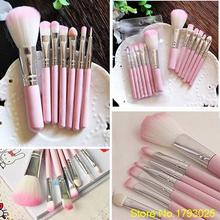 Latest FREE SHIPPING 7Pcs Pro Pink Makeup Brush Set Eyeshadow Cosmetic Tools Eye Face Beauty Brushes 5K9L