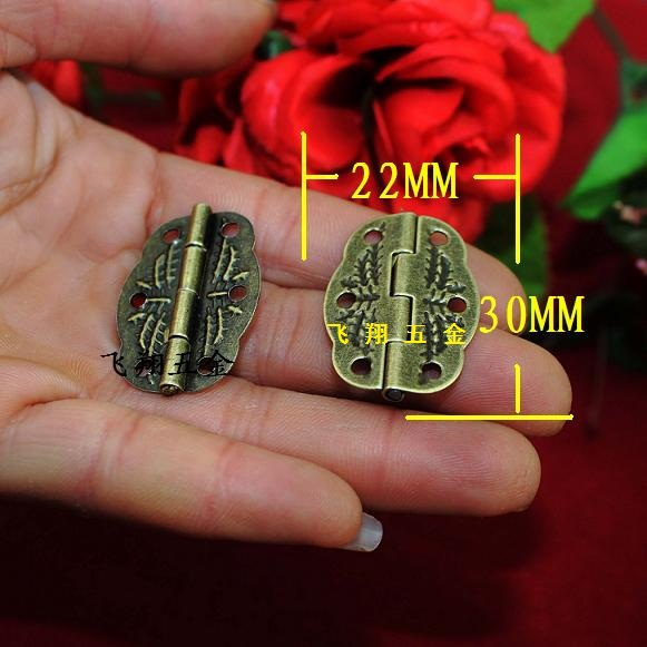 30*22MM 50pcs six hole vintage carved cabinet hinges wooden jewelry gift box furniture hinges antique brass hinge bisagras(China (Mainland))