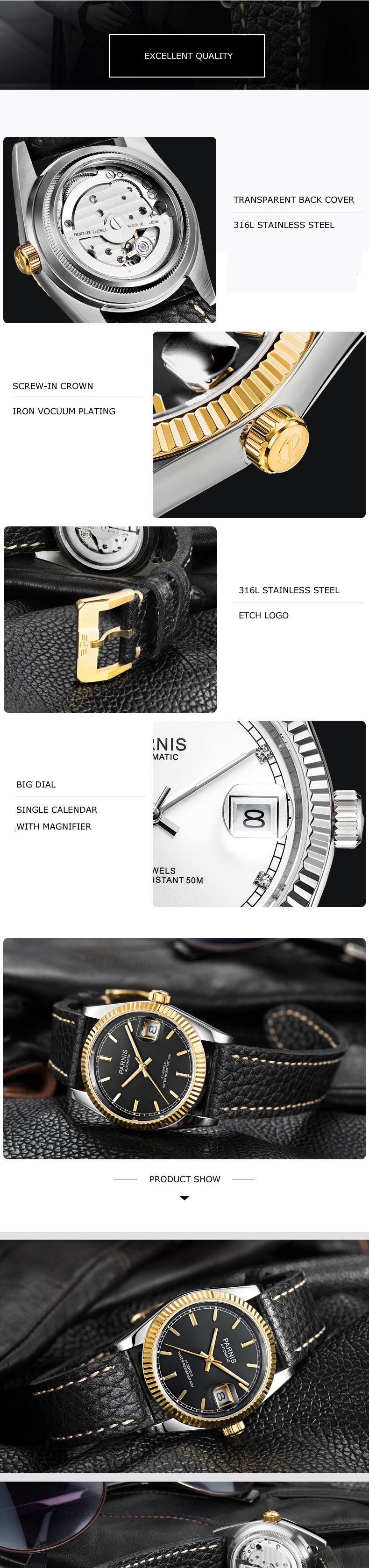 Parnis Королевский Seriers Светящиеся Мужские Кожаный Ремешок Моды Большой Циферблат Двойной Календарь Автоматические Механические Часы Наручные Часы