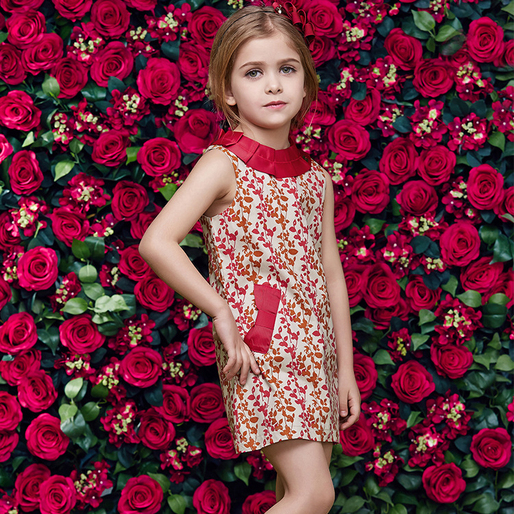 2015 European Station Summer Girls Dress Printed Vestidos Infantis Vest Princess Party Family Dress Kids Wedding Dress SHCYCC34(China (Mainland))