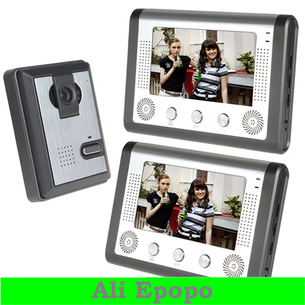 7 Inch TFT LCD Color Video Door Phone Doorbell Intercom Kit 1 IR Camera & 2 Monitors with Night Vision for Home Security