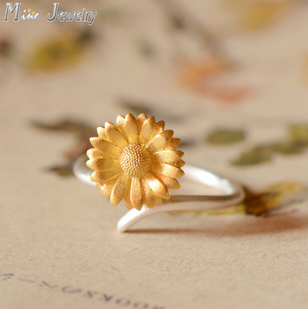 2016 Free Shipping 925 Silver Sunflower Rings For Women Jewelry Finger Rings For Party Birthday Gift(China (Mainland))