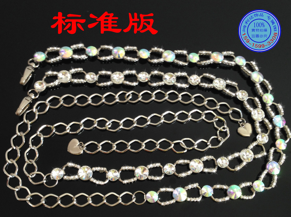 A white /AB color crystal glass crystal lady alloy belt belly dance belt wholesale chain34(China (Mainland))