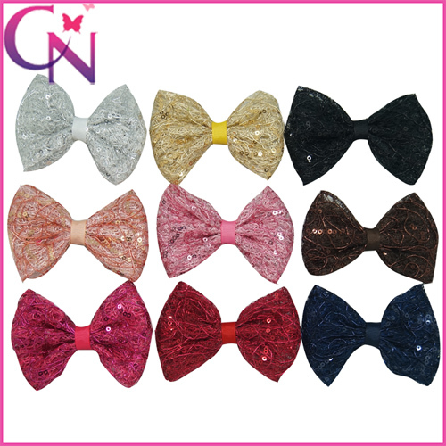 30pcs/lot 4Inch Baby Girls Boutique Sequins Hair Bows With Clip Korea Kid Children Hair Accessories Baby Hair Clips CNHB14092301(China (Mainland))