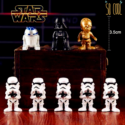 NEW STAR WARS Q version of the robot Dark Warrior C- 3PO The white horse pyramid 7pcs/set Boxed pvc kids toys for gift(China (Mainland))