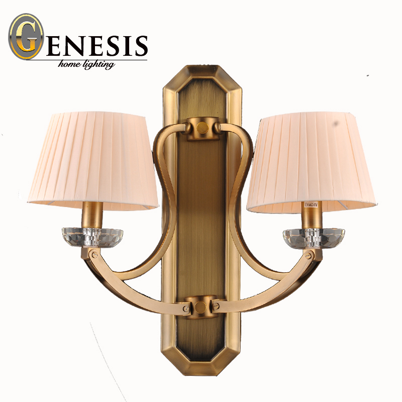 2015 FREE SHIPPING genesis metal wall lamps foyer bedroom dining room modern fabric shade european style wall scone<br><br>Aliexpress