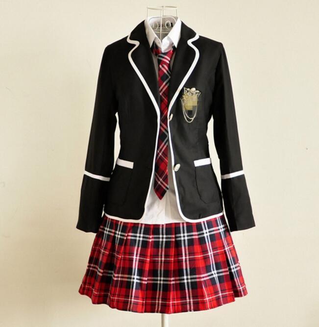 Japanese School Girl Uniform Cosplay England lolita Costume Black Red font b Tartan b font Dress