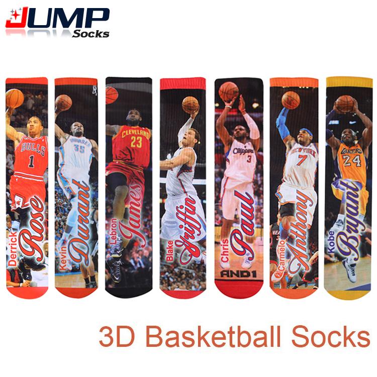2015 summer style Fashion harajuku 3d Printed basketball socks Men&Women Hip Hop Skateboard High sport Socks(China (Mainland))