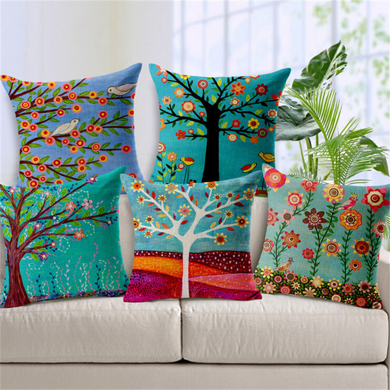 Hand Painted Flower Tree Print Cushion Covers For Sofa Cotton Linen Car Seat Home Decorative Cushion Case Pillow Cover SMC265T()
