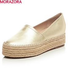 new 2016 spring autumn genuine leather flat shoes woman round toe platform fashion casual slip-on women flats gold(China (Mainland))