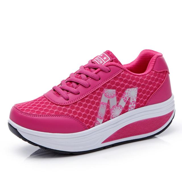 Женская обувь высота увеличение свободного покроя для ходьбы женщины Wedgess супер ...
