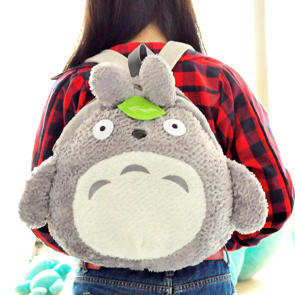 My Neighbor Totoro Cute Green Leaf Furry Plush HandBag Backpack Bag School Bag(China (Mainland))
